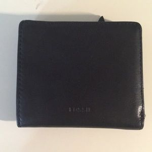 FOSSIL Black Leather Folding Wallet
